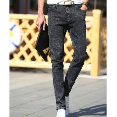 Men Korean Hip-hop Casual Pants Hole Slim Feet Nine Points Jeans