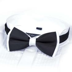 Men Satin Bow Tie Dickie Bow Pre-Tied Wedding Tuxedo Tie Necktie Black &White A