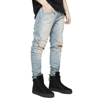 Men Straight Ripped Skinny Jeans (Light Yellow) - Intl