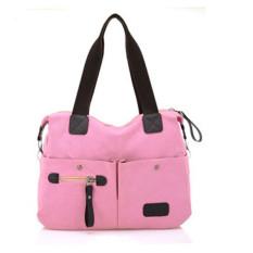 Men Women Pillow Vintage Canvas Bag Shoulder Messenger Handbag Pink - Intl