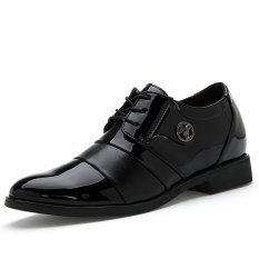 Men's Casual Business Style Height Increasing Elevator Genuine Leather Shoes (Black) (Intl)
