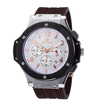 Men's Chronograph 24 Hr Indicator Military Sports Watches 3ATM Waterproof Stainless Steel Mens Watches (Silver + White + Rose Gold + Brown) - Intl