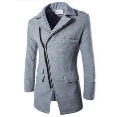 Men's Long Coat 2015 Spring Fashion Brand Mens Wool Winter Coats Overcoat Men's Slim Fit Winter Jacket For Male (Grey) (Intl)