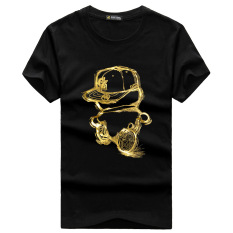 Men's Lycra Cotton Short-sleeves O-neck Printing T-shirt (Black)