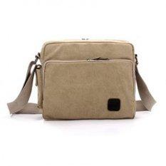 Men's Multifunction Canvas One-shoulder Business Casual Bag Light Khaki - Intl