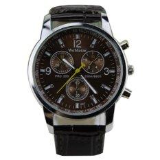 Men's Round Dial Faux Leather Strap Quartz Wrist Watch Brown