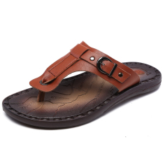 Men's Summer Sandals, Casual Slippers, Breathable Leather Sandals HnA1482(Brown) (Intl)