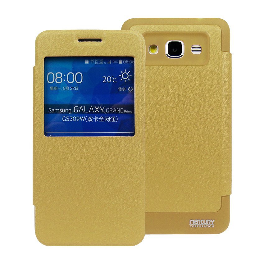 Mercury Flipcover WOW Goospery Bumper View for Samsung Galaxy J1 ACE - Gold + Gratis Waterproof
