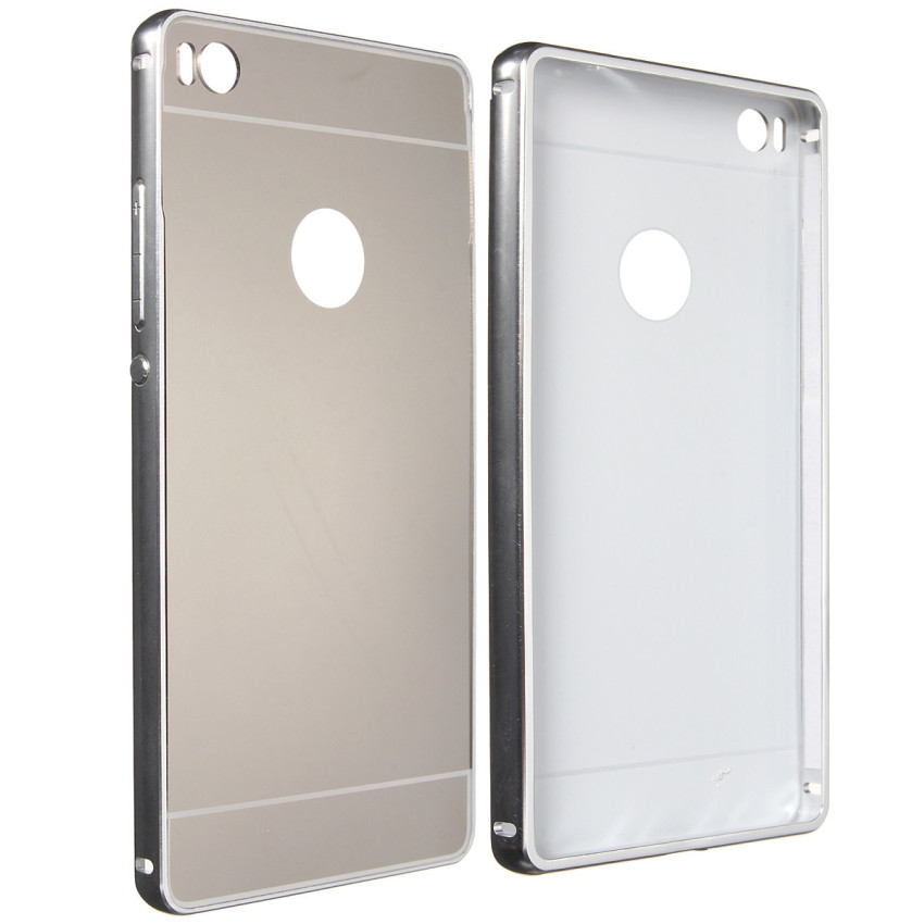 Metallo Frame PC Mirror Hard Back Cover Custodia Per Huawei Ascend P8/P8 Lite Silver (Intl)