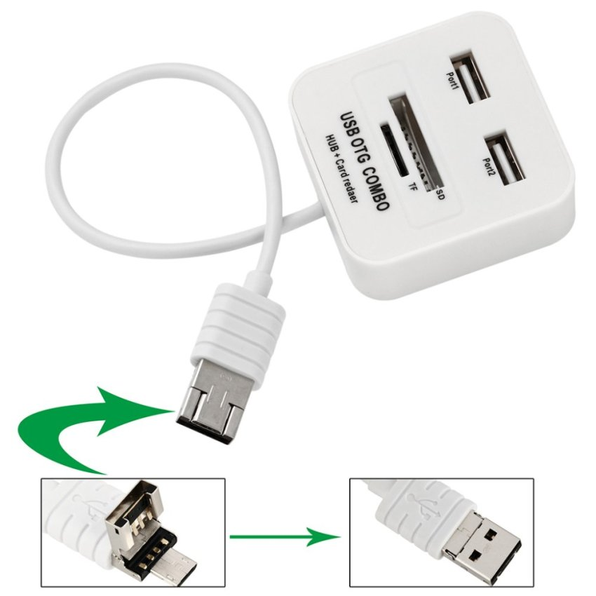 Micro USB 2 Port HUB OTG Card Reader for Mobile, tablet (White) (Intl)