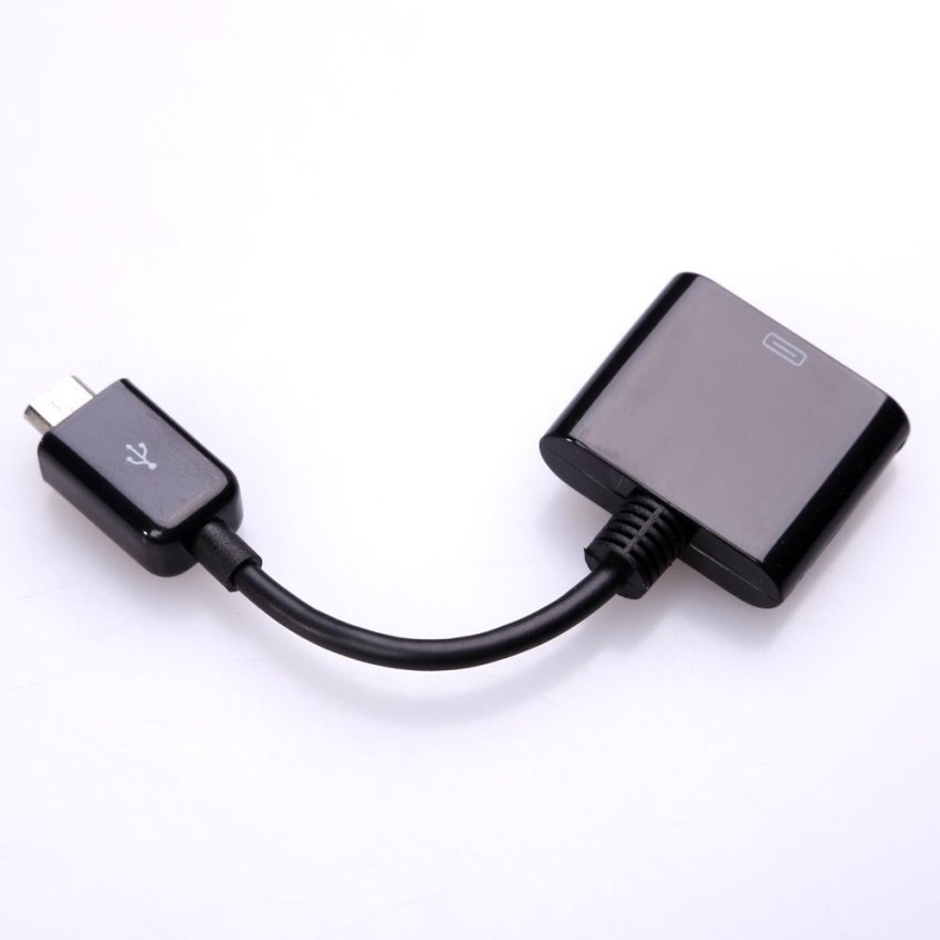 Micro USB Male to Apple 30-pin Female Cable Adapter Black