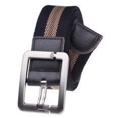 Military Style Unisex Single Grommet Adjustable Canvas Belt Web Belt Woven Belt Black Stripes 120cm (Export) - Intl