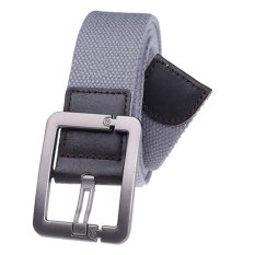 Military Style Unisex Single Grommet Adjustable Canvas Belt Web Belt Woven Belt Grey 115cm (Export) - Intl