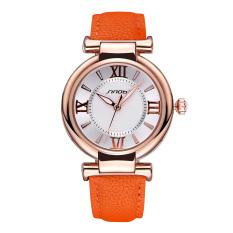 Mingjue Brand SINOBI Luxury Leather Women Watches Ladies Fashion Gold Dial Quartz Dress Watch Roman Number Casual Wristwatch (Orange Gold White)
