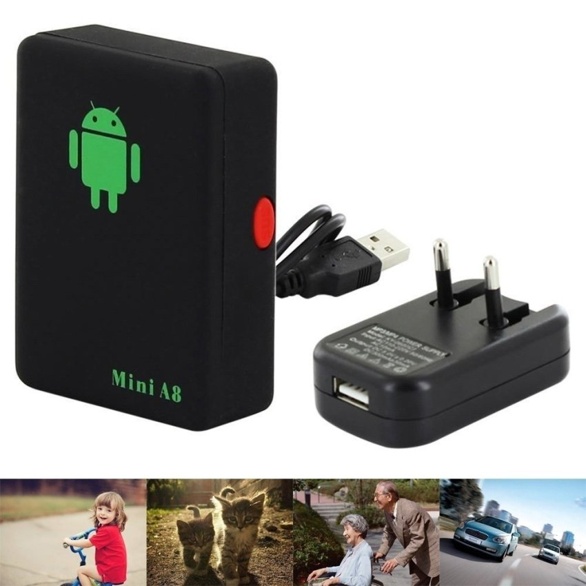 Mini A8 Tracker Locator GSM GPRS LBS 4 Bands Tracking SOS Button for Cars Kids Elder Pets - EU Plug (Intl)