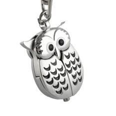 Mini Metal Owl Style Quartz Pocket Watch Clock Key Ring With Buckle