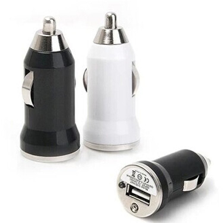 Mini Universal Dual USB Car Charger Adapter Bullet For Phone (Black) (Intl)