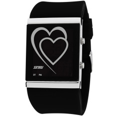 MiniCar SKMEI Casual Lovers Sport Silicone Band Unisex Mens Womens LED Wrist Watch Black