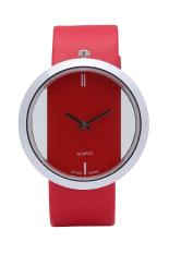 Minimalism Design Transparent Analog Leather Belt Quartz Watch Wristwatch Hollow Dress Watch (Red)
