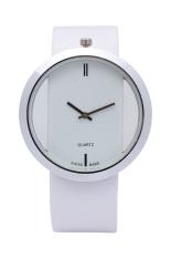 Minimalism Design Transparent Analog Leather Belt Quartz Watch Wristwatch Hollow Dress Watch (White)
