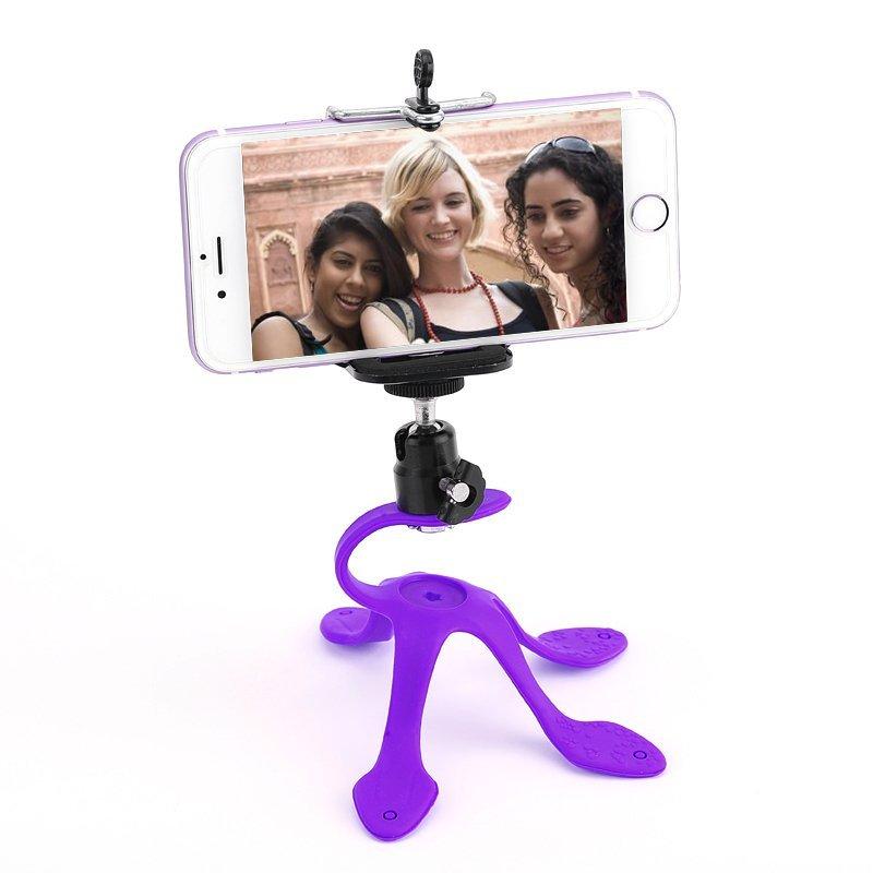 Mobile Phone Flexible Silica Gel Material Holder Fit For Car (Purple) (Intl)