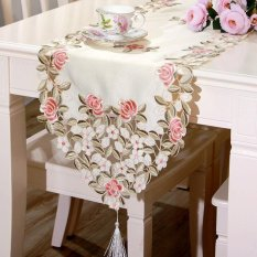 Modern Minimalist Fashion Polyester Embroidery Table Runner Floral Printing 40x210 Multicolor (Intl)