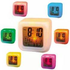 Moody Digital Clock - Weker Unik Berubah Warna - Kubus - Putih