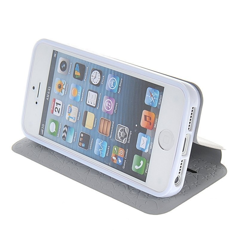 MOONCASE Flip Leather Wallet Stand Case Cover for iPhone 5/5S