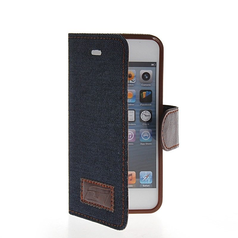 MOONCASE Flip Leather Wallet Stand Case Cover for iPhone 5 / 5S Black