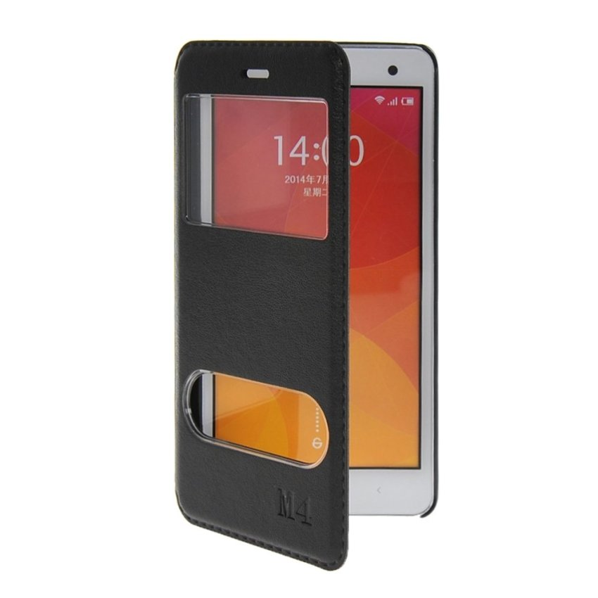 MOONCASE Premium PU Leather Flip Bracket Window Case Cover for XiaoMi Rice MI 4 M4 Black