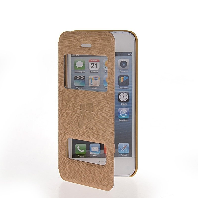 MOONCASE Side Flip Leather Stand Case Cover for iPhone 5 / 5S Gold