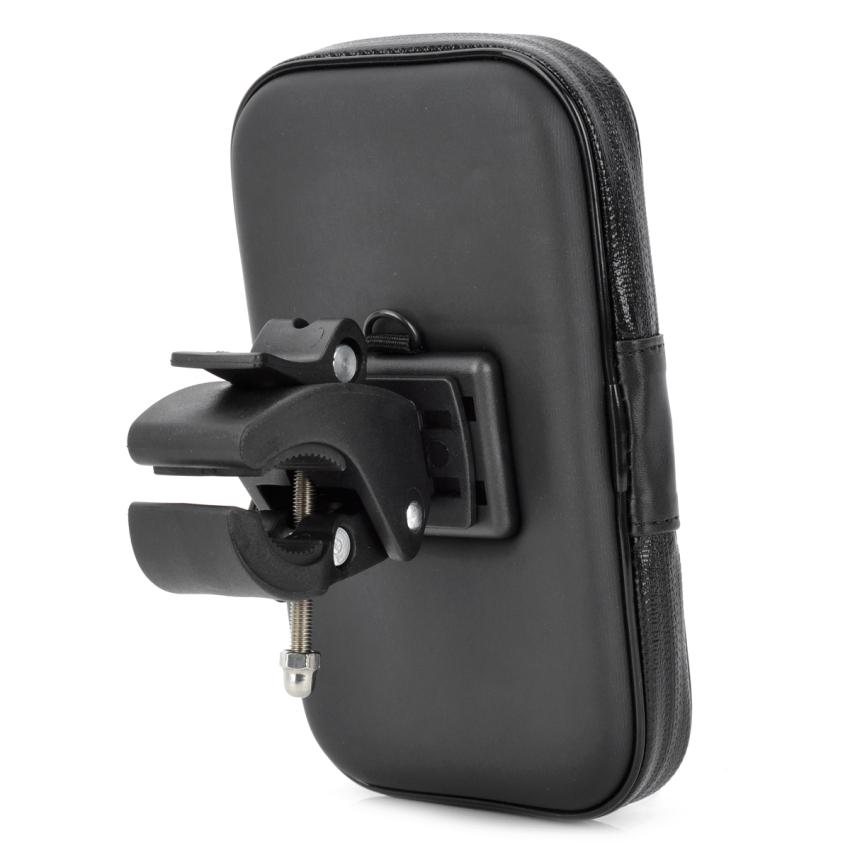 MOT-718 Motorcycle Bike Handlebar Mount Holder Waterproof Case for 5.3'' GPS Phone - Black