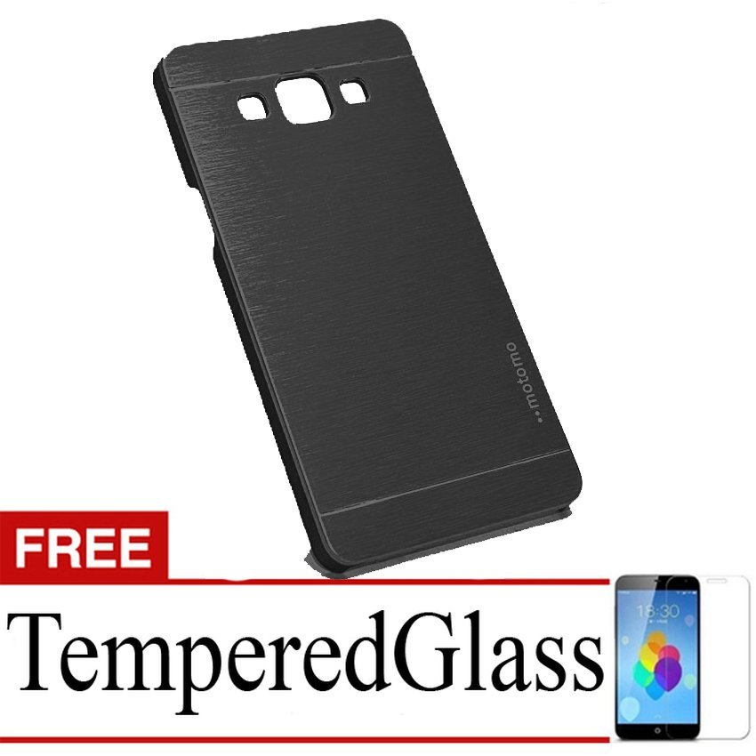 Motomo Hardcase for Samsung Galaxy J5 - Hitam + Gratis Tempered Glass