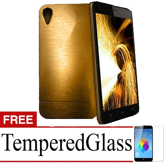 Motomo Metalicase For Infinix Hot 2 - Gold + Gratis Tempered Glass