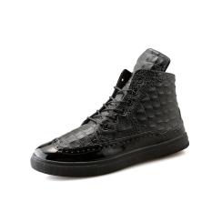 MPria Mode Sneakers Ankle Boots Crocodile Pola Pendek Boots High Top Kasual Olahraga Sepatu Berjalan Sepatu Travelling Black