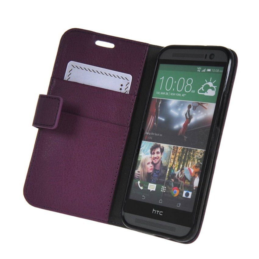 MSK High quality Leather Side Flip Wallet Card Slot Pouch Stand Shell Back Case Cover for Htc One M8 Purple