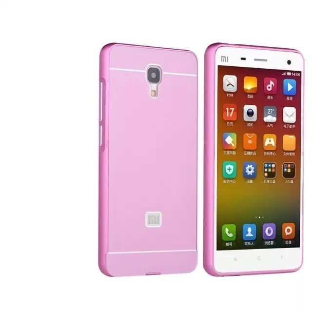 Msvii Metal Frame With Back Cover Case For Xiaomi Mi4 (Pink Color) (Intl)