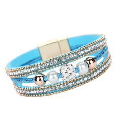 Multilayer Pearl Rhinestone Beaded Leather Bracelet Blue - Intl