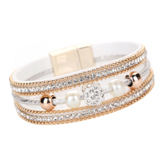 Multilayer Pearl Rhinestone Beaded Leather Bracelet Jewelry Gift White- Intl