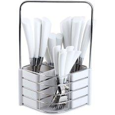 Nakami Set Sendok Garpu - Stainless Steel/Plastik - Putih