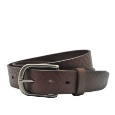 Natucci Cowhide Men's Belts High Quality Emboss Plaid Genuine Leather Strap Needle Buckle Casual Style For Jeans (Brown) - Intl