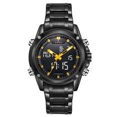 NAVIFORCE 9050 Men Stainless Steel Double Movement Wristwatch (Color:Black)