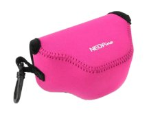 NEOPine Elastic Triangle Neoprene Camera Case For Nikon 1 J4 With 10-30mm Lens (Pink)