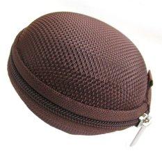 New Arrival Mini Zipper Sport Earphone Headphone SD Card Storage Bag Box Hard Carrying Pouch Case (Coffee)