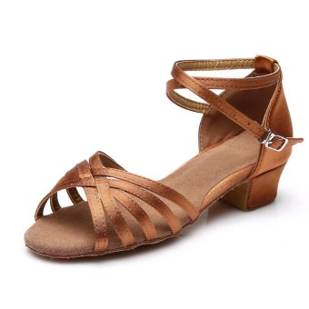 New classic satin five straps low heel girls latin shoes ...