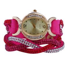 New Design 2016 New Arrive Reloj Mujer Rhinestone Relogio Watches Quartz Watch Women Dress Watch Ladies Dress Reloj Rose Red (Intl)