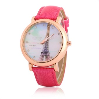 New Design Women Rhinestone Watches Luxury Crystal The Tower Watch Fashion Quartz Wristwatches (Rose)