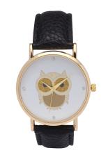 New Fashion Cartoon Owl Style Dress Gold Watch Women Clock Casual Wrist Watch Quartz Watch (Black)