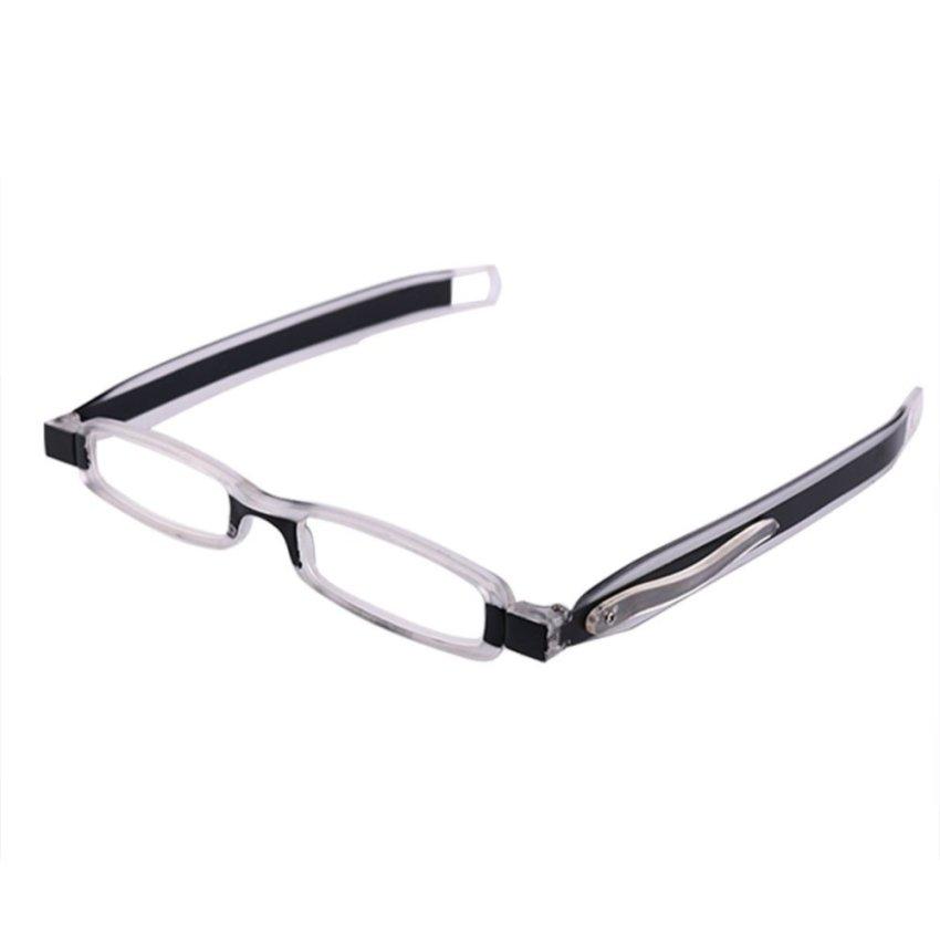 New Fashion clear black Slim Mini Folding High Quality Reading Glass Eyeglass Great Reader Spectacle Transparent Black (Intl)