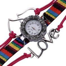 New Fashion Love Heart Braid Winding Wrap Bracelet Watch Rosered - Intl